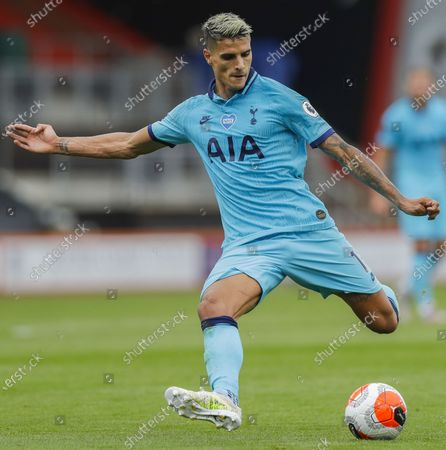 Erik Lamela of Tottenham in action during the English Premier League match between AFC Bournemouth and Tottenham Hotspur in Bournemouth, Britain, 09 July 2020.