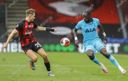 David Brooks (L) of Bournemouth in action against Moussa Sissoko (R) of Tottenham during the English Premier League match between AFC Bournemouth and Tottenham Hotspur in Bournemouth, Britain, 09 July 2020.
