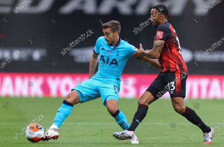 Callum Wilson (R) of Bournemouth in action against Harry Winks (L) of Tottenham during the English Premier League match between AFC Bournemouth and Tottenham Hotspur in Bournemouth, Britain, 09 July 2020.