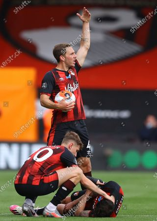 Adam Smith (R) of Bournemouth injured during the English Premier League match between AFC Bournemouth and Tottenham Hotspur in Bournemouth, Britain, 09 July 2020.