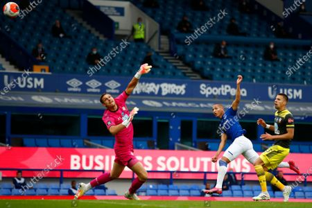 Richarlison of Everton scores a goal during the English Premier League match between Everton and Southampton in Liverpool, Britain, 09 July 2020.