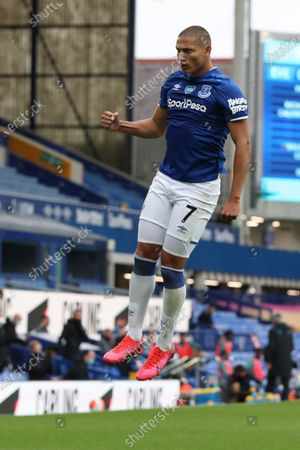 Richarlison of Everton celebrates after scoring a goal during the English Premier League match between Everton and Southampton in Liverpool, Britain, 09 July 2020.