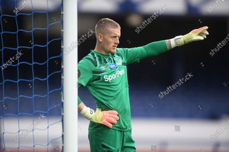 Jordan Pickford of Everton reacts during the English Premier League match between Everton and Southampton in Liverpool, Britain, 09 July 2020.