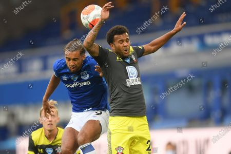 Dominic Calvert-Lewin (L) of Everton in action against Ryan Bertrand (R) of Southampton during the English Premier League match between Everton and Southampton in Liverpool, Britain, 09 July 2020.