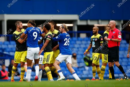 Dominic Calvert-Lewin (2-l) of Everton and Jack Stephens (L) of Southampton argue during the English Premier League match between Everton and Southampton in Liverpool, Britain, 09 July 2020.