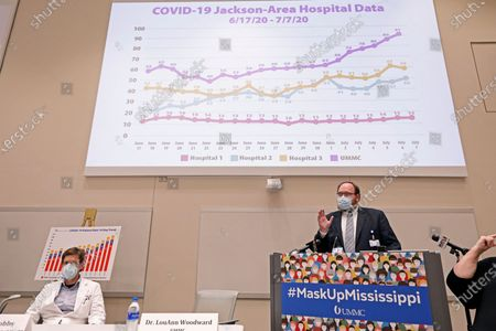 Jonathan Wilson, chief administrative officer and COVID Incident Manager at the University of Mississippi Medical Center, right, speaks about the impact of the recent spike in COVID-19 hospitalizations during a news conference in the School of Medicine at the University of Mississippi Medical Center campus, in Jackson, Miss. Wilson was joined by other state health care leaders in discussing their concerns and recommendations to curb the community spread virus
