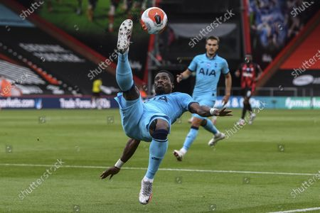 Tottenham's Serge Aurier kicks the ball during the English Premier League soccer match between Bournemouth and Tottenham at the Vitality Stadium in Bournemouth, England
