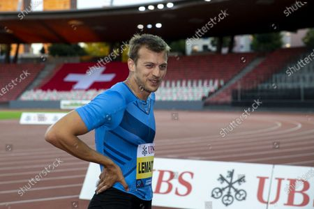 Stock Photo of Christophe Lemaitre from France reacts after competing in the men's 200m race during the Weltklasse Zurich Inspiration Games, a virtual international athletics meeting at seven venues worldwide, at the Letzigrund stadium in Zurich, Switzerland, 09 July 2020.