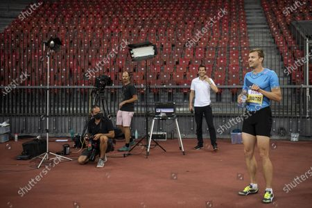 Christophe Lemaitre from France reacts after competing in the men's 200m race during the Weltklasse Zurich Inspiration Games, a virtual international athletics meeting with at seven venues worldwide, at the Letzigrund stadium in Zurich, Switzerland, 09 July 2020.