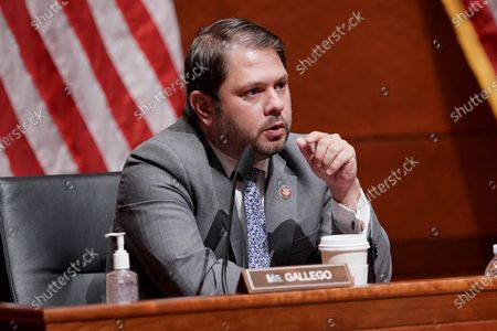 Rep. Ruben Gallego (D-Arizona) is seen during the US House Armed Services Committee hearing on 'Department of Defense Authorities and Roles Related to Civilian Law Enforcement', on Capitol Hill in Washington, DC, USA, 09 July 2020.