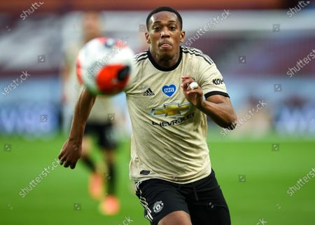 Anthony Martial of Manchester United in action during the English Premier League match between Aston Villa and Manchester United in Birmingham, Britain, 09 July 2020.
