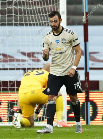Bruno Fernandes of Manchester United reacts during the English Premier League match between Aston Villa and Manchester United in Birmingham, Britain, 09 July 2020.