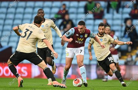 John McGinn (C) of Aston Villa in action Nemanja Matic (L) of Manchester United during the English Premier League match between Aston Villa and Manchester United in Birmingham, Britain, 09 July 2020.