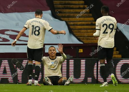 Mason Greenwood (C) of Manchester United celebrates with teammates after scoring the 2-0 lead during the English Premier League match between Aston Villa and Manchester United in Birmingham, Britain, 09 July 2020.