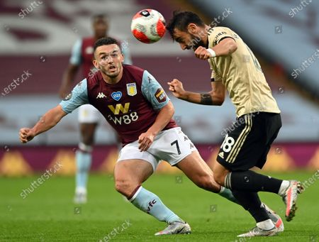 Tyrone Mings (R) of Manchester United in action against John McGinn (L) during the English Premier League match between Aston Villa and Manchester United in Birmingham, Britain, 09 July 2020.