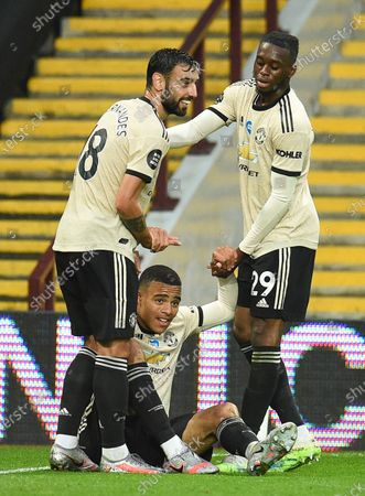 Mason Greenwood (C) of Manchester United celebrates with teammates after scoring the 2-0 leadl during the English Premier League match between Aston Villa and Manchester United in Birmingham, Britain, 09 July 2020.
