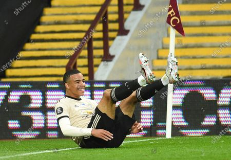 Mason Greenwood of Manchester United celebrates scoring the 2-0 leadl during the English Premier League match between Aston Villa and Manchester United in Birmingham, Britain, 09 July 2020.