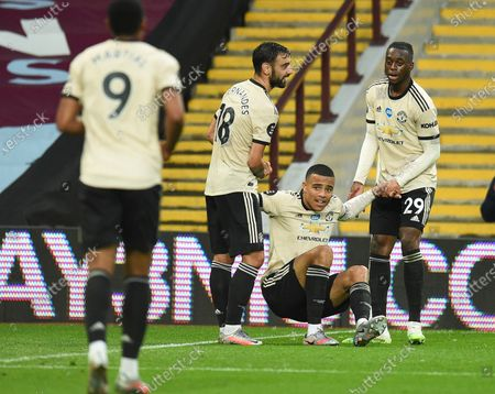 Mason Greenwood (2-R) of Manchester United celebrates with teammates after scoring the 2-0 leadl during the English Premier League match between Aston Villa and Manchester United in Birmingham, Britain, 09 July 2020.