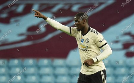 Paul Pogba of Manchester United celebrates after scoring the 3-0 lead during the English Premier League match between Aston Villa and Manchester United in Birmingham, Britain, 09 July 2020.