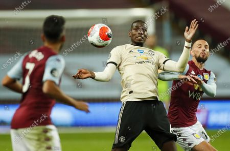 Paul Pogba (C) of Manchester United in action during the English Premier League match between Aston Villa and Manchester United in Birmingham, Britain, 09 July 2020.