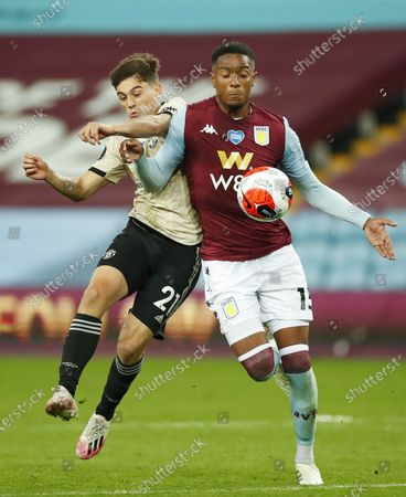 Ezri Konsa (R) of Aston Villa in action against Daniel James (L) of Manchester United during the English Premier League match between Aston Villa and Manchester United in Birmingham, Britain, 09 July 2020.