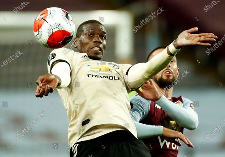 Paul Pogba (L) of Manchester United in action during the English Premier League match between Aston Villa and Manchester United in Birmingham, Britain, 09 July 2020.