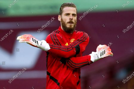 David de Gea, goalkeeper of Manchester United warms up prior to the English Premier League match between Aston Villa and Manchester United in Birmingham, Britain, 09 July 2020.