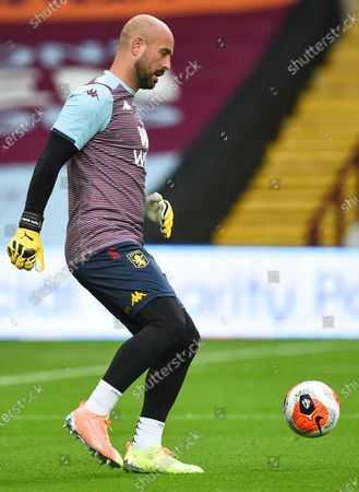 Aston Villa's Pepe Reina warms up prior to the English Premier League match between Aston Villa and Manchester United in Birmingham, Britain, 09 July 2020.