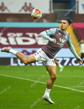 Jack Grealish of Aston Villa warms up prior to the English Premier League match between Aston Villa and Manchester United in Birmingham, Britain, 09 July 2020.