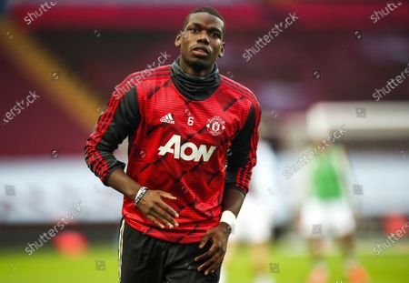 Paul Pogba of Manchester United warms up prior to the English Premier League match between Aston Villa and Manchester United in Birmingham, Britain, 09 July 2020.