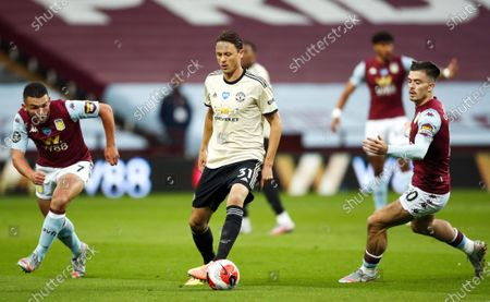 Nemanja Matic (C) of Manchester United in action during the English Premier League match between Aston Villa and Manchester United in Birmingham, Britain, 09 July 2020.