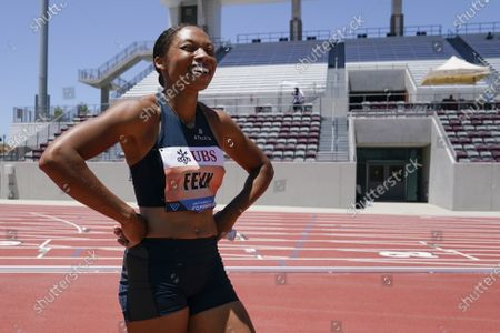 Stock Image of Allyson Felix reacts after crossing the finish line of the women's 3x100m relay at the Weltklasse Zürich Inspiration Games at Mt. San Antonio College, in Walnut, Calif. Athletes competed from seven different locations around the world
