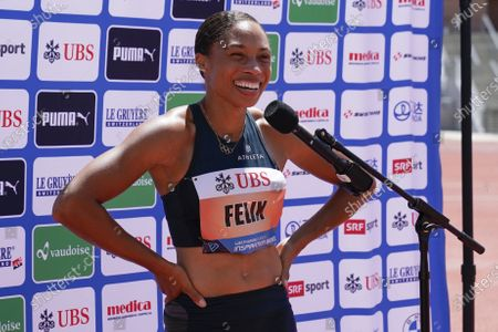 Stock Picture of Allyson Felix reacts after winning the women's 150-meter dash at the Weltklasse Zürich Inspiration Games at Mt. San Antonio College, in Walnut, Calif. Athletes competed from seven different locations around the world