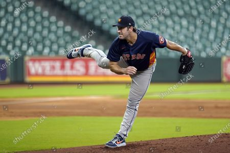 Houston Astros pitcher Justin Verlander throws during a simulated baseball game, in Houston