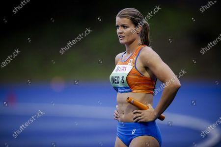 Dafne Schippers of the Netherlands in the women's 3 x 100 meter relay race during the Inspiration Games, a virtual international athletics meeting at seven venues worldwide, at Papendal in Arnhem, The Netherlands, 09 July 2020.