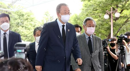 Former United Nations (UN) Secretary-General Ban Ki-moon (C), visits the mortuary of Seoul Mayor Park Won-soon to offer condolences at Seoul National University Hospital in Seoul, South Korea, 10 July 2020. Seoul Mayor Park Won-soon was found dead on Mount Bukak in northern Seoul, police said on 10 July, after he was reported missing by his family.