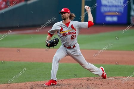 St. Louis Cardinals pitcher Andrew Miller throws during an intrasquad practice baseball game at Busch Stadium, in St. Louis