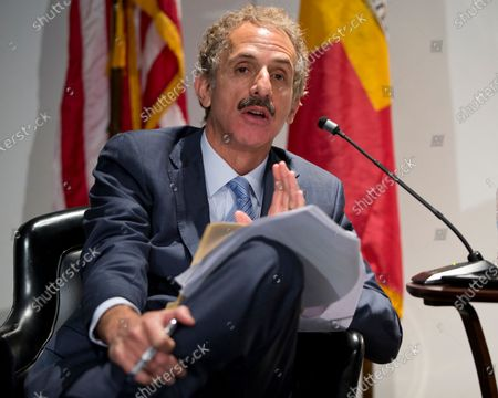 """Los Angeles City Attorney Mike Feuer speaks at Los Angeles Police Headquarters. Los Angeles prosecutors accuse a nursing home of illegally """"dumping"""" old and disabled residents onto the street and into homes that are not equipped to care for them in order to increase profits amid the coronavirus epidemic. The """"sustained"""" and """"intentional"""" misconduct by Lakeview Terrace skilled nursing facility comes as nursing homes have an incentive to dump long-term residents to make room for COVID-19 patients, for whom they are paid much more, Feuer wrote in a lawsuit filed in July 2020"""