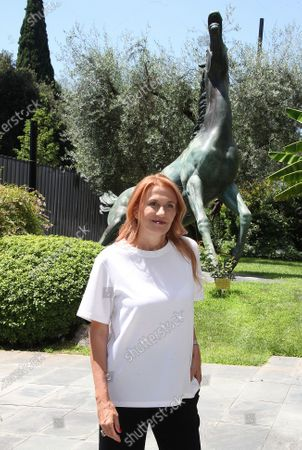 """Monica Maggioni arriives for the presentation of the transmission """"Seven Stories"""" broadcast on Monday in the late evening on Raiuno."""