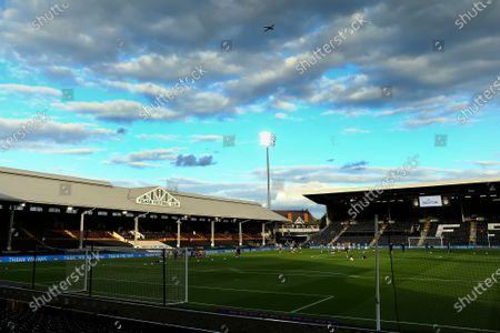 Craven Cottage, London, England; A commercial air craft fies over Craven Cottage; English Championship Football, Fulham versus Cardiff City.