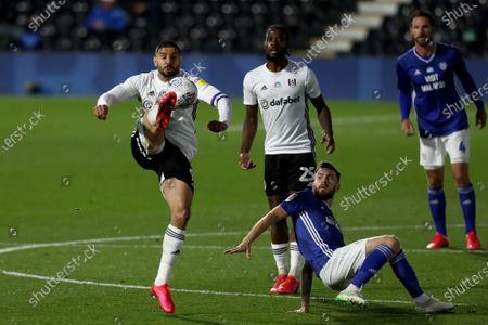 Craven Cottage, London, England; Aleksandar Mitrovic of Fulham controls the high ball; English Championship Football, Fulham versus Cardiff City.
