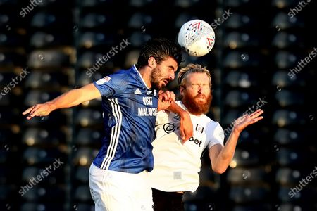 Craven Cottage, London, England; Callum Paterson of Cardiff City competes for a header with Tim Ream of Fulham; English Championship Football, Fulham versus Cardiff City.