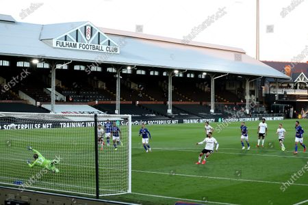 Craven Cottage, London, England; Aleksandar Mitrovic of Fulham scores from the penalty spot for 1; English Championship Football, Fulham versus Cardiff City.