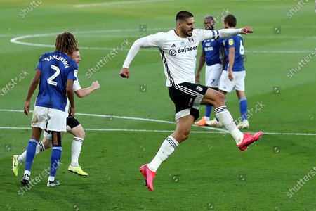 Craven Cottage, London, England; Aleksandar Mitrovic of Fulham celebrates after scoring from the penalty spot for 1; English Championship Football, Fulham versus Cardiff City.