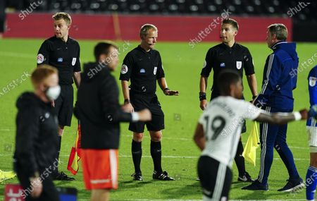 Cardiff City manager Neil Harris is unhappy with the referee at full time