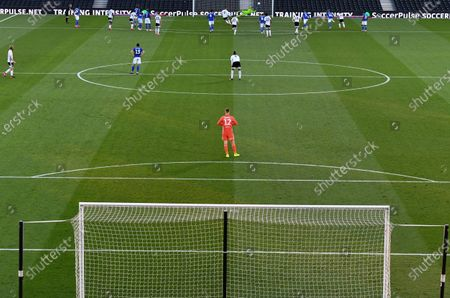 No celebration from Goalkeeper Marek Rodak as Aleksander Mitrovic of Fulham gives Fulham in the lead from the penalty spot