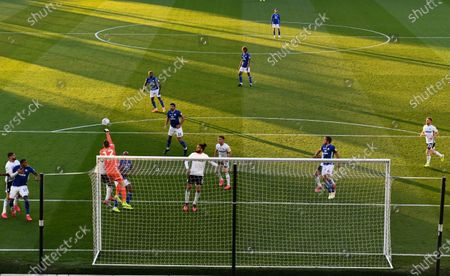 Goalkeeper Marek Rodak of Fulham punches clear