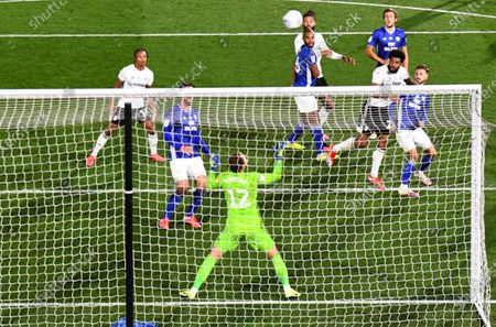 Cyrus Christie of Fulham heads a great chance over