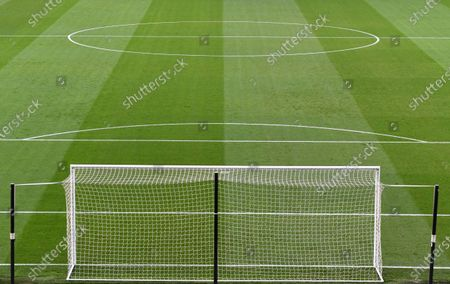 A goal net, the pitch and the centre-circle at Craven Cottage ahead of kick off