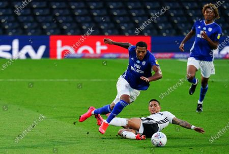 Anthony Knockaert of Fulham was booked for this foul on Nathaniel Mendez-Laing of Cardiff City